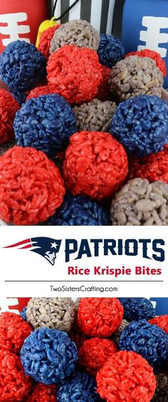 New England Patriots Rice Krispie Bites - Yummy, bite-sized balls of crunchy, marshmallow-y delight. This is a Football dessert that is easy to make and even better to eat. These colorful and festive New England Patriots Treats are great for a game day football party, an NFL playoff party, a Super Bowl party or as a special snack for the New England Patriots fans in your life. Go Patriots! Follow us for more fun Superbowl Food Ideas.