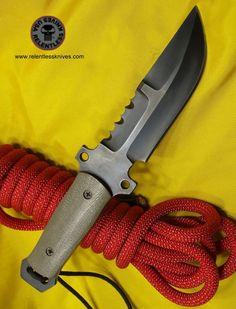Relentless Knives Custom Tactical Knives custom made knives and handmade knives Tactical Knives, Tactical Survival, Survival Knife, Survival Gear, Survival Equipment, Cool Knives, Knives And Tools, Knives And Swords, Bushcraft