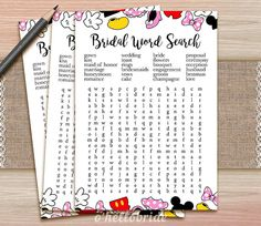 Word Search Bridal Game Printable Disney Bridal by ohellobride