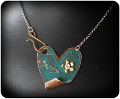 Teal Heart Pendant by Cocco Jewelry