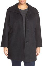 Ellen Tracy Wool Blend A-Line Coat (Plus Size)