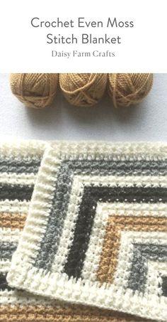 Free Pattern - Crochet Even Moss Stitch Blanket