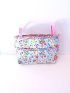 Quilted Blue and Pink Floral Walker Bag - Walker Tote - Scooter Bag - Stroller Bag on Etsy, $28.00