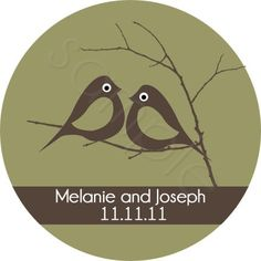 Love Birds Nestled On A Branch Wedding design.  Personalized stickers by partyINK