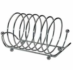 SPIRAL CHROME PLATED TOAST SLICES BREAD LOAF SLOTS RACK STAND HOLDS HOLDER 2519