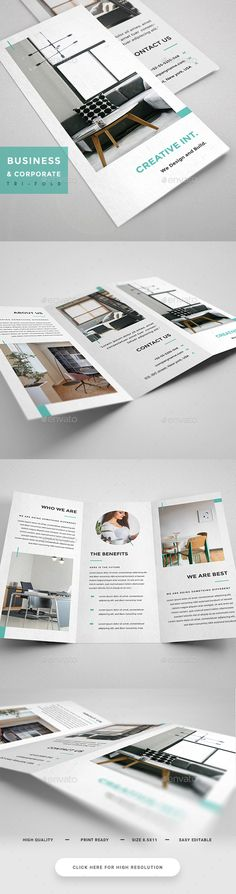 Interior Design TriFold - Brochure — Photoshop PSD #work #letter • Download ➝ https://graphicriver.net/item/interior-design-trifold-brochure/19546209?ref=pxcr