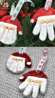 Santa Handprint Ornament Santa Handprint Ornament These adorable salt dough ornaments are made from our easy salt dough recipe. Santa handprint ornaments are the PERFECT Christmas craft for kids to make. Christmas Crafts For Adults, Kids Christmas Ornaments, Christmas Crafts For Toddlers, Felt Christmas Decorations, Xmas Crafts, Christmas Baby, Diy Christmas Gifts, Handmade Christmas, Christmas Handprint Crafts