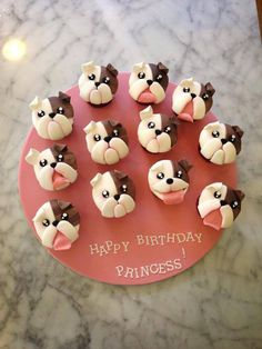 adorable bulldog cupcakes, perfect for a birthday party