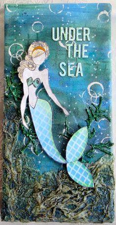 Mermaid ackie Clark - Flying Unicorn March KOM and Julie Nutting mermaid stamp Mermaid Canvas, Mermaid Room, Mermaid Art, Prima Paper Dolls, Prima Doll Stamps, Julie Nutting, Round Robin, Mermaid Crafts, Artist Trading Cards