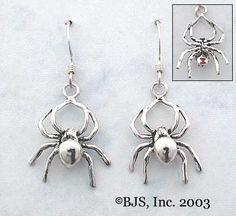 Spider Earrings with Gemstone Abdomen option