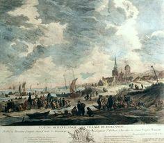 Jacques-Philippe Le Bas (1707-1783). Vue de Schevelinge Village de Hollande. Ingekleurde kopergravure van Jacques Philippe Le Bas naar een schilderij van Adriaen van Drever. (Coll. Vendu Notarishuis, Rotterdam)