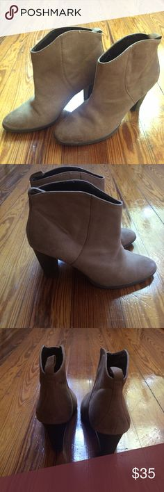 Soft Light Tan Leather Zara Boots Minimal wear after only being worn a few times, could be polished to like-new. Heeled booties - great with summer dresses or jeans! Zara Shoes Ankle Boots & Booties