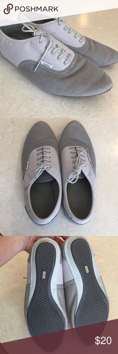 Old School Vans Great condition. Some signs of wear on right heel as seen in pic. Two tone taupe color, canvas Vans Shoes Sneakers