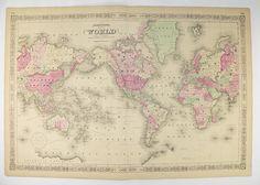 Antique World Map 1864 Johnson Map, World on Mercators Projection, Vintage Art Map, Unique Wedding Gift for Couple, Office Decor Wall Map available from www.OldMapsandPrints.Etsy.com #1864JohnsonWorldMap #MercatorMapofWorld #RealAntiqueMapoftheWorld