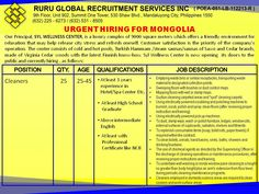 Urgent Hiring for Mongolia Cleaners Age 25 to 45 --At least 3 years experience in Hotel/Spa Center -- At least High School Graduate -- Above Intermediate English -- At least with Professional Certificate like NII You may contact us at 09393148841 (SMART) 09178569813 (Globe) 09227363287 (Sun) Visit us at: http://www.facebook.com/ruruglobal http://www.rururecruitment.com
