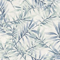 Plant themed motifs & watercolour effect stripes in blues, greens, grey & brown.