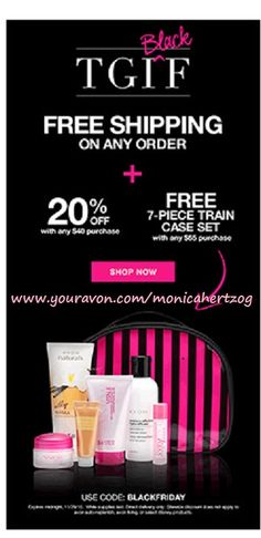 Free Shipping on ANY order plus 20%off 40 and a FREE 7-piece Train Case Set with a 65 purchase...code BLACKFRIDAY shop now www.youravon.com/monicahertzog #avon #avonproducts #freewithpurchase #sale #online