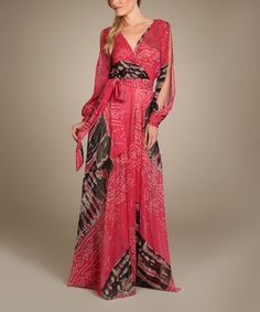 Love this Red & Black Abstract Surplice Maxi Dress by Spy Dresses on #zulily! #zulilyfinds