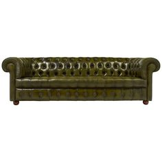 View this item and discover similar for sale at - English vintage Chesterfield sofa in a beautiful green, tufted leather with brass tacks, rolled arms, and round wooden feet. This sofa is very comfortable. Green Leather Sofa, Leather Corner Sofa, Green Velvet Sofa, Green Sofa, Chesterfield Living Room, Leather Chesterfield, Leather Sectional, Sofa Bed Sale, Couches For Sale