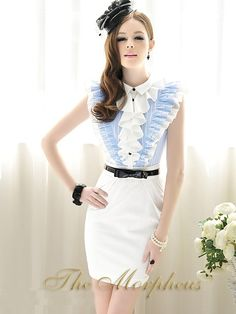 Morpheus Boutique - Blue White Stripe Ruffle Layer Collar Sleeveless Trendy Dress