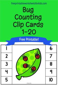 Preschoolers and kindergarteners will love counting the brightly colored ladybugs in this fun bug themed math center. Include this free printable in your insect learning unit to combine math and fine motor strengthening this Spring. Counting 1 to 20 will be so much fun! #counting1to20 #insectlearningunit #bugthemedmathcenter