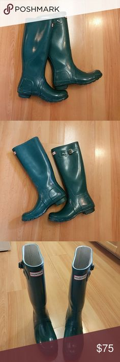 Hunter Rain Boots Cute dark teal Hunter boots in really good condition. There is some light scuffing (see in pictures 2 and 4), but it's all cosmetic; the boots don't have any functional issues. Size 7, but fit more like a size 7.5. Sale only. Hunter Boots Shoes Winter & Rain Boots