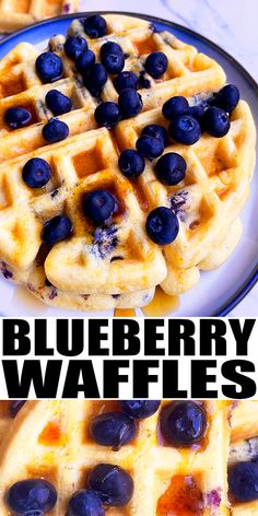 EASY BLUEBERRY WAFFLES RECIPE- The best quick and easy waffles, homemade with simple ingredients. Crispy on the outside, fluffy on the inside. Full of blueberries (fresh or frozen), lemon and vanilla. From CakeWhiz.com Delicious Breakfast Recipes, Best Dessert Recipes, Easy Desserts, Sweet Recipes, Delicious Desserts, Yummy Food, Delicious Dishes, Blueberry Waffles, Pancakes And Waffles