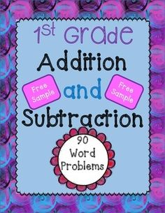 FREE SAMPLE of 7 addition and subtraction word problems from my packet: 90 Word Problems for addition and subtraction (1st grade)! This packet is the ultimate packet for math problem solving. It has super easy ones for the beginning of the year and the word problems get progressively more difficult.