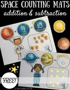Space Guide Addition and subtraction is a bit more fun with these free space counting mats! - Practice addition and subtraction with these free space counting mats. Great for mastering count all and count on strategies. Space Theme Classroom, Space Theme Preschool, Space Activities For Kids, Classroom Freebies, Halloween Activities, Subtraction Activities, Kindergarten Activities, Numeracy Activities, Outer Space Theme
