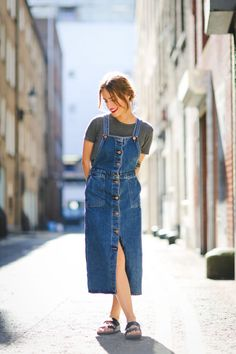 Top by Brandy Melville, Dungaree dress by Monki, Shoes by Birkenstock