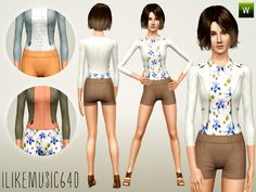 Shorts, button down shirt, and a bomber jacket, all parts are recolorable Found in TSR Category 'Sims 3 Female Clothing'