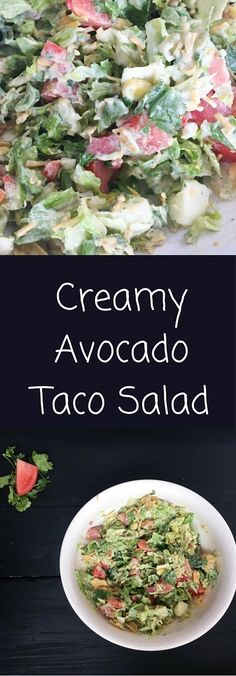 Creamy Avocado Taco Salad is crunchy and spicy. A full meal this taco salad recipe is packed with healthy avocado to keep you full all afternoon.