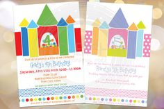Bounce House Party  50 Birthday Party Invitations Boy or Girl Jumping Party $30.00