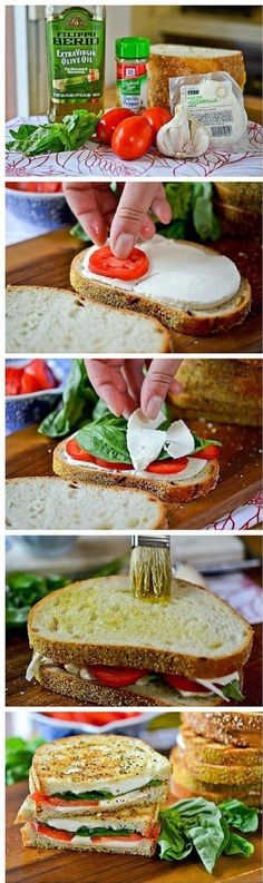Sandwich tomato basil cheese olive oil toasted or pan heated
