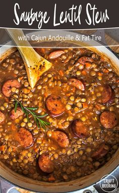 Hearty lentil stew with Andouille sausage. Super bright flavors are folded in at the end - spicy extra virgin olive oil finely chopper fresh rosemary and a secret ingredient! Cooking With Beer, Cooking Tips, How To Make Lentils, Pork Broth, Lentil Stew, Beer Recipes, Winter Recipes, Winter Food, Chopper
