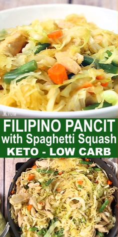 Low Carb Filipino Pancit is a delicious and healthy low carb version of the well-loved Filipino classic. Spaghetti Squash replaces the higher carb noodles, making each serving at only net carbs. It's loaded with vegetables and just takes only 20 minutes Paleo Recipes, Healthy Dinner Recipes, Low Carb Recipes, Cooking Recipes, Cooking Time, Paleo Food, Healthy Spaghetti Squash Recipes, Paleo Vs Keto, Paleo Meals