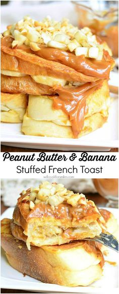 Amazingly delicious power breakfast. Soft, peanut butter flavored French Toast stuffed with bananas and crunchy peanuts and topped with smooth peanut butter honey sauce. Click through for recipe!