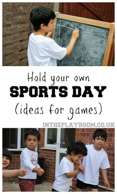 Holding Your Own Sports Day - In The Playroom : Lis of games and equipment ideas for holding your own sports day. Great idea to keep the kids active in summer Holding your own sports day. Ideas for games, races and equipment to use. Sports Day Activities, Sports Games For Kids, Outdoor Games For Kids, Summer Activities For Kids, Children Activities, Scout Activities, Kid Games, Motor Activities, Classroom Activities