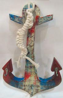 Ateliê Le Mimo: GANCHEIRAS e PORTA-CHAVES  Gancheira âncora - peça em madeira Decoração marítima