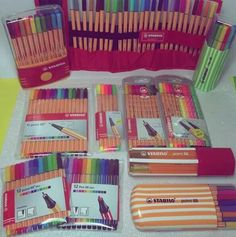 Stationary For School, Stationary Store, Stationary Supplies, School Stationery, Cute Stationery, School Suplies, Cool School Supplies, Stabilo Boss, Pen Collection