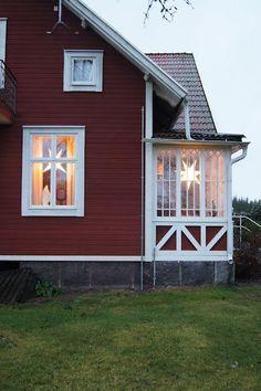 Scandinavian Farmhouse: Swedish Farmhouse/Cottage with Red White siding a...
