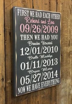 First We Had Each Other Personalized Gift, 5th Anniversary Gift,Wood Anniversary Gift, Important Dat Unique Mothers Day Gifts, Gifts For Family, Vinyl Crafts, Diy Arts And Crafts, Important Dates Sign, Gift Cards Money, Wood Anniversary Gift, Family Wood Signs, Rustic Wood Walls