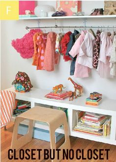 It is a nice idea have a closet in the nursery. Their little clothes are so cute and worth showing off, right?   Instructions at http://projectnursery.com/projects/abcs-of-a-stylish-nursery/