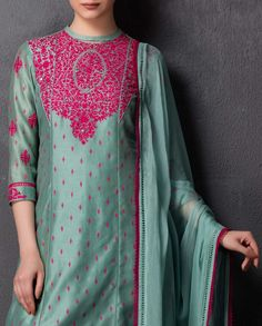 Sea Green Kurta Set with Embroidery - The Hit List - Boutique
