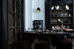 Restaurant Manzel, Lebanese Cuisine meets Urban Coolness in a Historical Danish Setting in Copenhagen. Art and interior by Marco Evaristti. spotted by Cafe Bar, Cafe Restaurant, Lebanese Cuisine, Commercial Design, Decoration, Home And Living, Architecture Design, Sweet Home, House Design