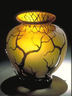 Bellied Root Vessel in Gold Topaz blown glass art.