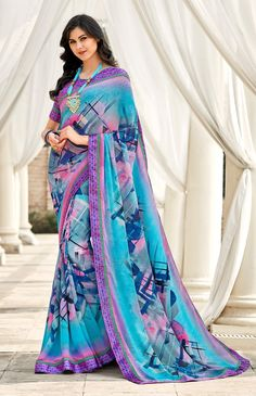 Abstract Print Saree in Sky Blue Georgette with printed blouse for festive wear saree Floral Print Sarees, Printed Sarees, Printed Blouse, Cotton Saree Designs, Blouse Designs, Cotton Sarees Online Shopping, Pure Georgette Sarees, Indian Beauty Saree, Indian Sarees