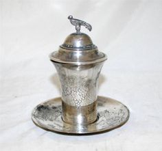 Iraqi Antique Judaica Kiddush Cup Set Sterling Silver Iraq 19th Century
