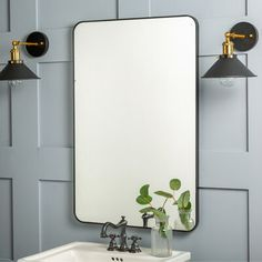 null Wall mirrors aren't just for making spaces appear larger, brightening a room by reflecting natural light, and stylishly hiding imperfections. They provide you with the opportunity to have one last look at yourself before running out the door. This wall-mounted mirror is perfect for a bathroom, bedroom, powder room, and more. It features a rectangular design, with rounded corners, and is crafted from metal, with mirrored glass. Arriving ready to hang, this piece includes D-ring hangers. Fini Bathroom Plants, Boho Bathroom, Single Bathroom Vanity, Small Bathroom, Master Bathroom, Bathroom Ideas, Bathroom Organization, Bathroom Inspiration, Basement Bathroom
