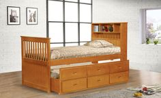 Twin Bookcase Headboard Captain Bed - Paige